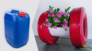 Low Cost Flower Pot Idea   How To Turn Plastic Barrel & Tires Into Stunning Flower Pot//GREEN PLANTS