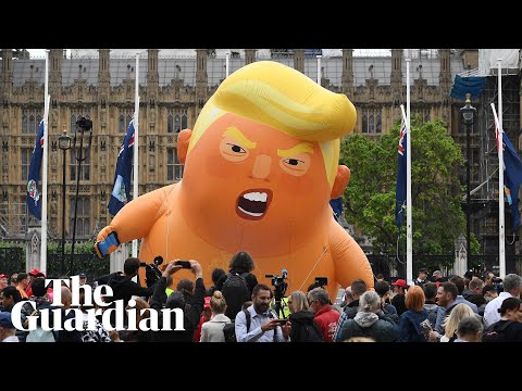 The moment Trump baby blimp lifts off outside parliament