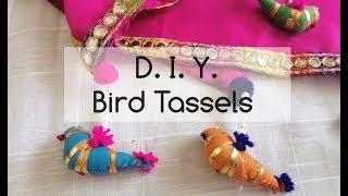 D.I.Y. Bird Tassels - Using Pearls, Pom-poms And Fabric Birds