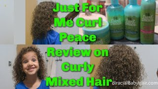 Trying Just For Me Curl Peace Kids Shampoo, Conditioner, & Detangler on Curly 3B Biracial Baby Hair