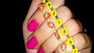 Смотреть онлайн Плетение нежного браслета из бисера