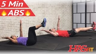 5 Minute Abs Workout for Women & Men at Home No Equipment - 5 Min Ab Workout – Abdominal Exercises by HASfit