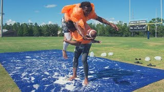 KNOCKOUT BUBBLE WRAP FOOTBALL ON A SLIP AND SLIDE! (OKLAHOMA DRILLS)