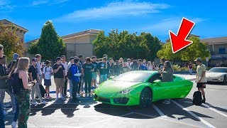 Picking Up Little Sister from High School in LAMBORGHINI!