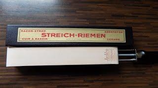 Rasur - Pur ! Spannriemen Streichriemen Rasiermesser Messer schärfen abledern Nassrasur Solingen