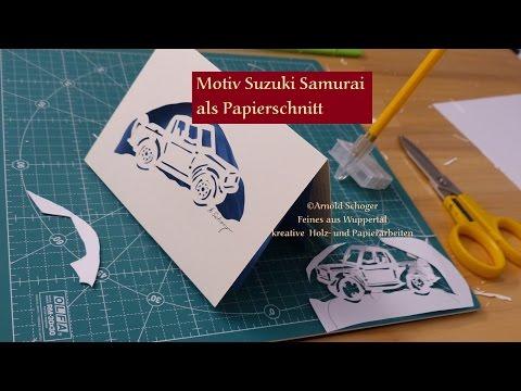 Suzuki Samurai Grußkarte, Papierschnitt mit Bastelmesser, bzw. art knife
