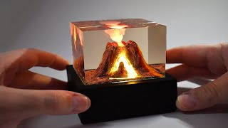 ACTIVE VOLCANO DIORAMA - Epoxy Resin Lamp with Wood Base-DIY