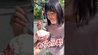 いちご けずり!初めて食べる けずりいちご(かき氷)の反応がこちらですw #SHORTS