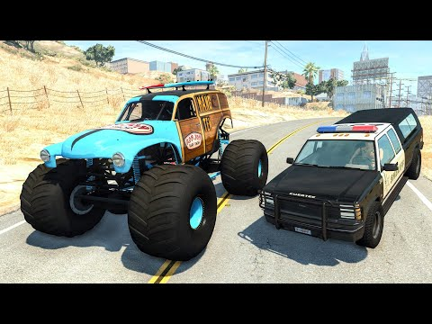 Crazy Police Chases #92 - BeamNG Drive Crashes