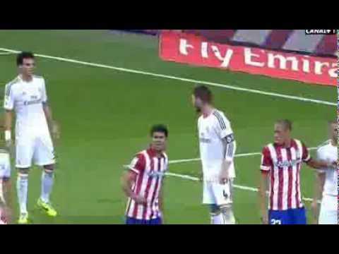 Karim Benzema and Pepe arguing on the pitch during game between Real Madrid and Atletico Madrid