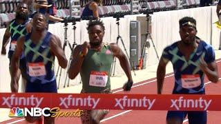 Noah Lyles survives close challenge from Kenny Bednarek to win Golden Games men's 200m | NBC Sports