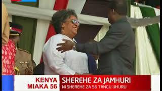 Raila Odinga arrives at Nyayo stadium for the 56th jamhuri day fete