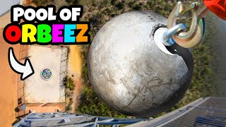 200KG ATLAS STONE Vs. POOL OF ORBEEZ from 45m!