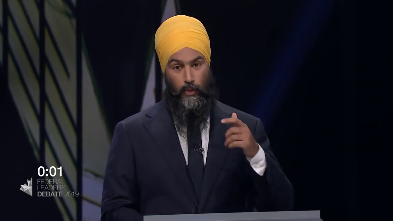 Jagmeet Singh answers a question about Canada on the world stage