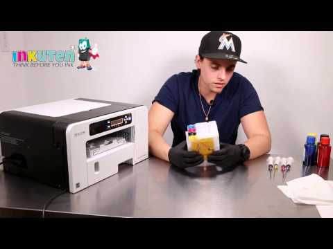 INKUTEN Refillable Ink Cartridges Installation Ricoh 3110 SG3100 SG3100SNW Sublimation Printer