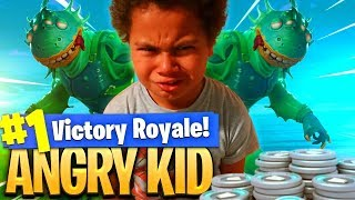 9 year old kid gets TROLLED and starts RAGING for DROPPING 0 KILLS in FORTNITE! *NEW* SKIN IS INSANE - Video Youtube