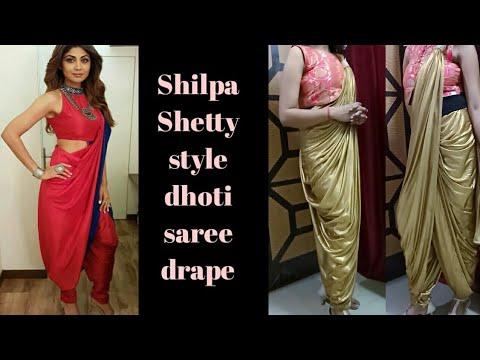Shilpa Shetty style saree look wd shimmer saree/dhoti style saree draping
