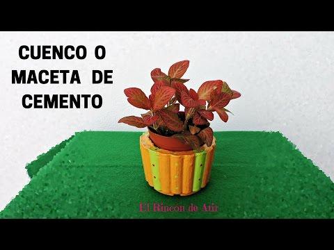 CUENCO O MACETA DE CEMENTO CON ENVASES DE PLÁSTICO