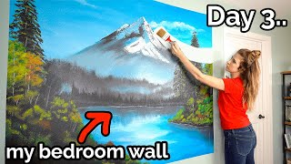 Following A BOB ROSS Tutorial On My BEDROOM WALL?!