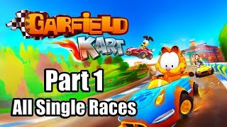 GARFIELD KART FURIOUS RACING Gameplay Walkthrough Part 1 (All Single Races)   No Commentary