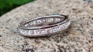 1 Carat Princess Cut Full Eternity Diamond Wedding Band In 18K White Gold