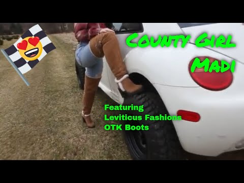Country Girl Model Madi in Leviticus Fashions Camel Brown Leather Thigh High Boots OTK Boots