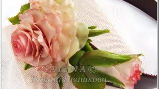 Ободок Роза с бутоном. Холодный фарфор.
