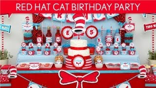 Dr. Seuss Cat in The Hat Birthday Party Ideas // Red Hat Cat - B20