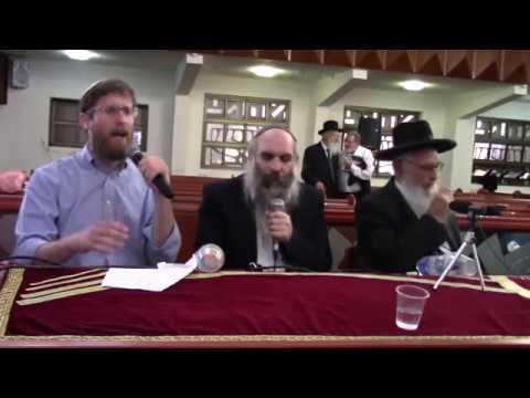"""התוועדות - סיום כנס """"איש על העדה"""" הרב יעקב אריאל, הרב יהושע שפירא, יצחק מאיר"""
