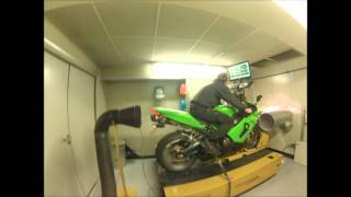 preview picture of video 'Kawasaki ZX6r 2006 636 Dyno with quickshift set up Full leo vince SBK carbon'