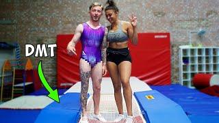 Gymnast tries 'Double Mini Trampoline' {DMT} New Olympic Sport??