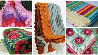 Very Latest Crochet Blankets With Prominent Multicolor Ed Designs And Unique Colours Contrast