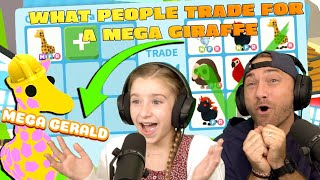 What People Trade for A MEGA Neon Giraffe (MEGA GERALD)!! Roblox Adopt Me!