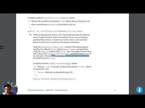 AP Computer Science A: 2020 Exam Arrays/Array List Question ...