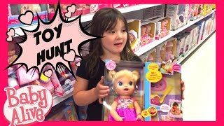 Daisy's Toy Hunt for her BABY ALIVE With Mommy and Daddy! + New Toys