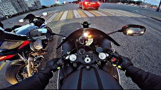 Умеренно адекватная езда на мото по набережной (без монтажа) 4К || Yamaha r1 & HondaCBR1000RR