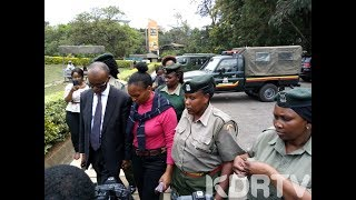 Sarah Wairimu speaks after viewing Tob Cohen\'s body at Chiromo Mortuary