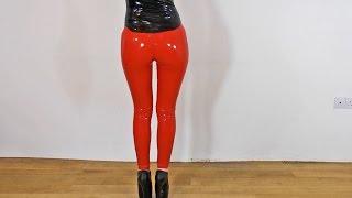 Sexy Latex Liquid Leggings Red Slinky Dance