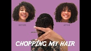 Chopping off my 3C hair!! + how to cut bangs for curly girls