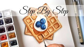 Watercolor Food Illustration #03 Waffle | Step By Step