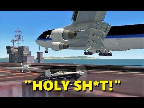 BOEING 747 LANDS ON AN AIRCRAFT CARRIER! (I call Bullsh*t) - FSX Multiplayer Chaos