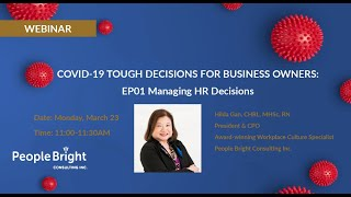 COVID-19 Tough Decisions for Business Owners: Managing HR Decisions