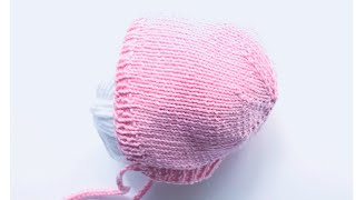 Knit newborn baby bonnet, knit baby cap or knit baby hat / Knitting for Baby