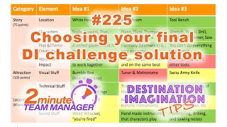 Choosing a final DI challenge solution idea