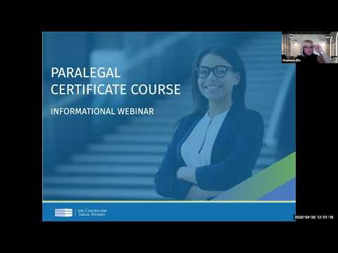 Paralegal Informational Webinar (April 2020) | The Center for Legal ...