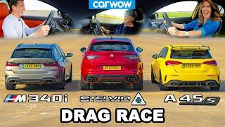 [carwow] BMW M340i v AMG A45 v Alfa Stelvio QV - DRAG RACE *Mat v Mum v Girlfriend*
