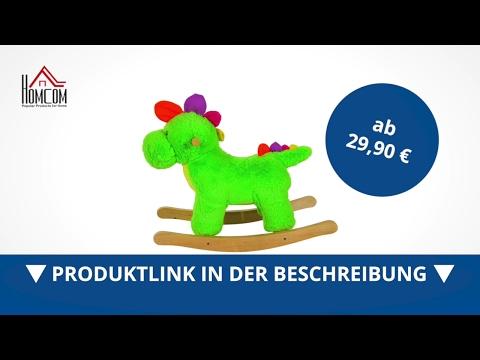 Homcom Schaukelpferd Plüsch Kinder Schaukeltier Dinosaurier 32 Lieder grün - direkt kaufen!