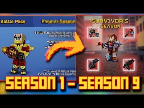 ALL REWARD SEASON 1 - SEASON 9 BATTLE PASS [Pixel Gun 3D]