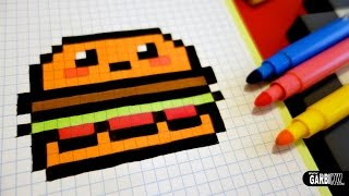 Handmade Pixel Art - How To Draw Kawaii Hamburger #pixelart #kawaii