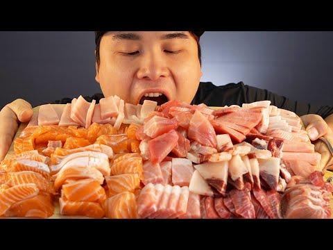 부드러운 연어와 기름기 가득 1등급 참치 먹방~!! 리얼사운드 social eating Mukbang(Eating Show)